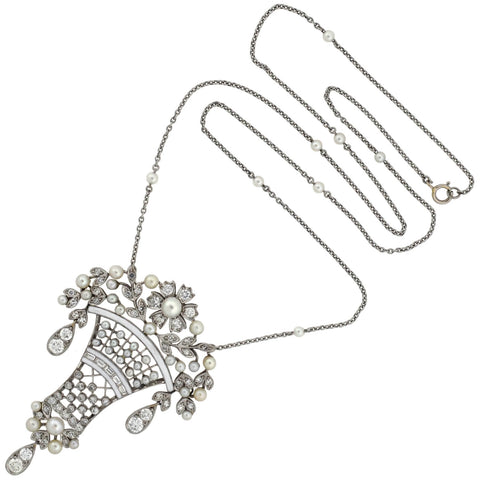 Early Retro Platinum Diamond + Pearl Enameled Flower Basket Necklace 1.25ctw