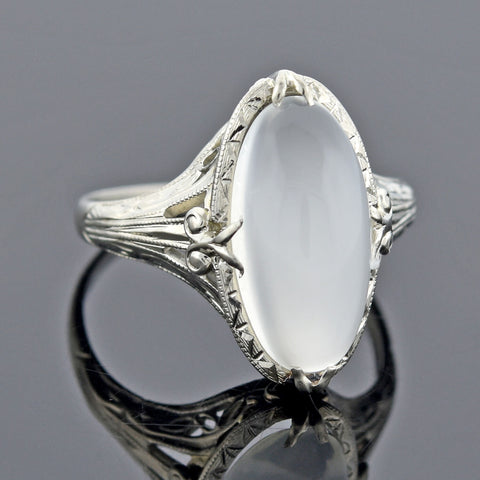 Art Deco 14kt White Gold Moonstone Ring