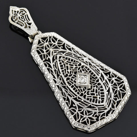 Art Deco Large 14kt Diamond Filigree Pendant
