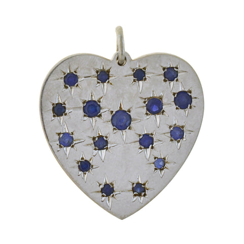 Retro 14kt White Gold + Sapphire Etched Starburst Heart Pendant 1.55ctw
