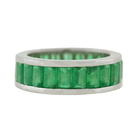 Estate 14kt Wide Emerald Cut Emerald Band 5.00ctw