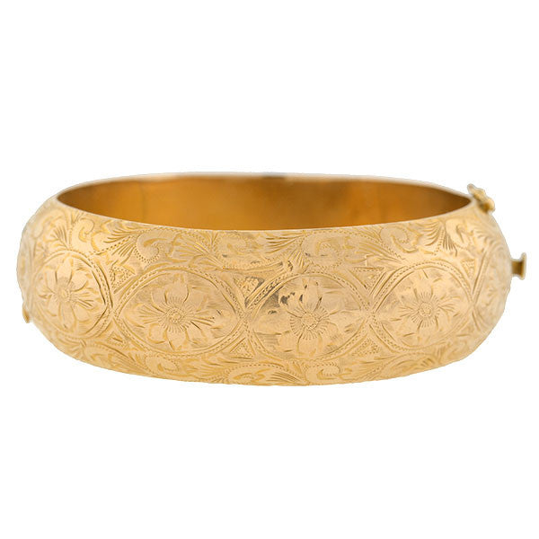 Victorian Revival 14kt Gold Etched Hinged Bangle Bracelet