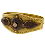 Victorian 15kt Carved Garnet Diamond Bracelet
