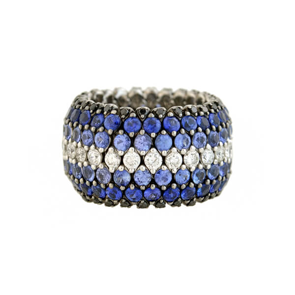 Estate 18kt Pavé Sapphire + Diamond Wide Flexible Band Ring