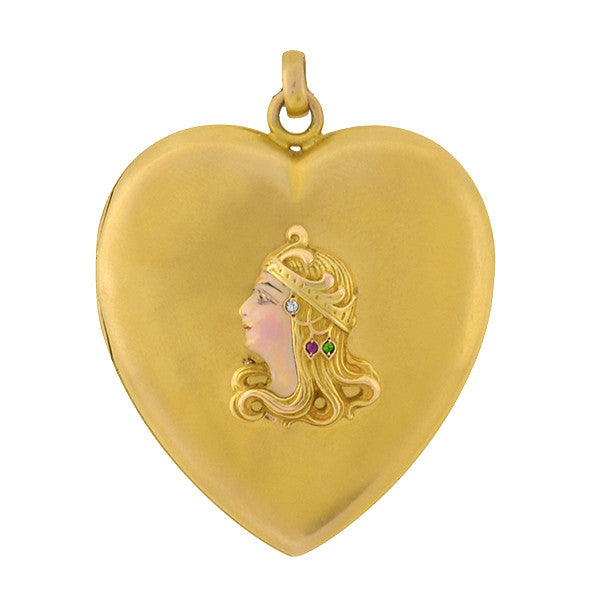 Victorian 14kt Enamel & Gemstone Lady Heart Locket