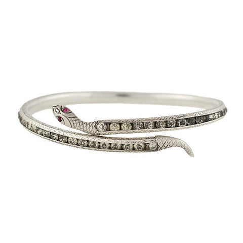 Art Deco Sterling & Paste Snake Bangle Bracelet