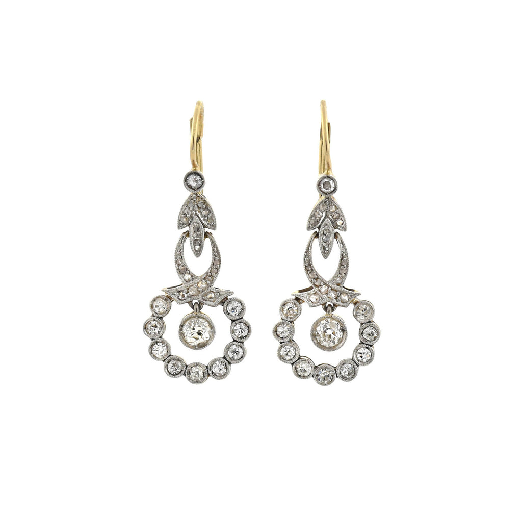 Edwardian 14kt/Platinum Diamond Filigree Earrings 1.30ctw