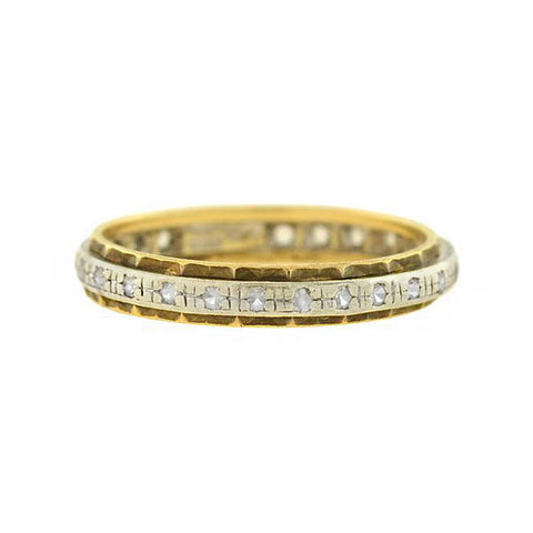 Vintage 9kt Mixed Metals Single Cut Diamond Eternity Band