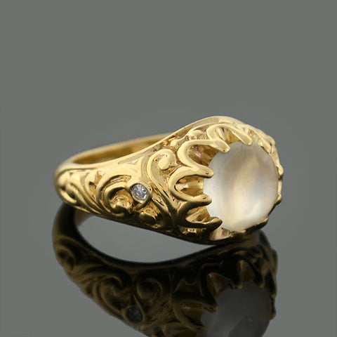 Victorian Style 14kt Repousse Moonstone & Diamond Ring