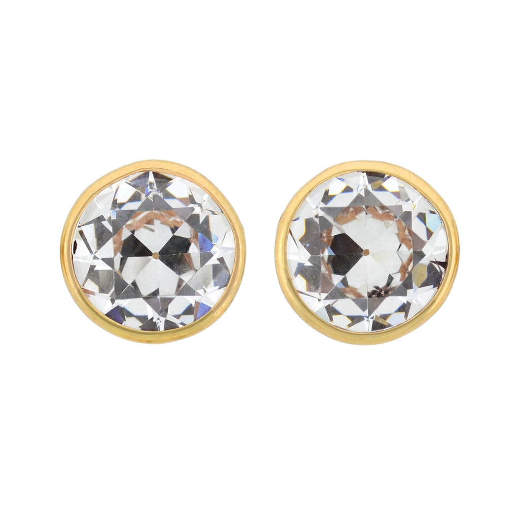 Custom Made Large European Cut Cubic Zirconia Stud Earrings 7.00ctw