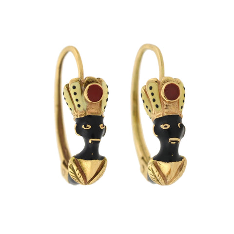 Vintage 14kt Enameled Blackamoor Earrings