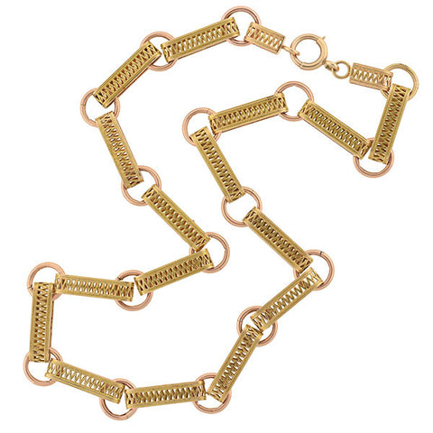 Victorian 15kt Two-Tone Filigree Book Chain Necklace