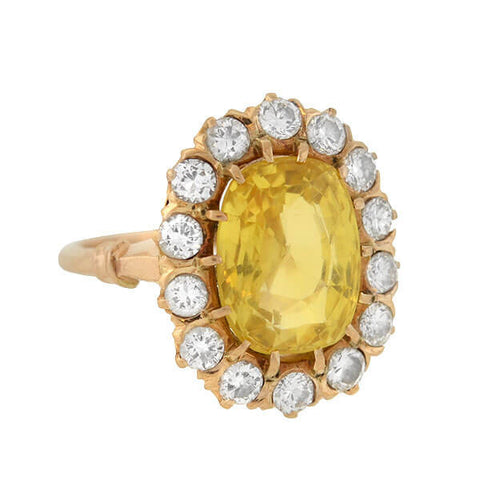 Art Deco 14kt Natural No-Heat Ceylon Yellow Sapphire Diamond Cluster Ring 5.65ct center
