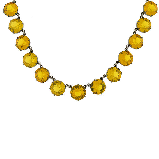 Retro Sterling Yellow Crystal Necklace