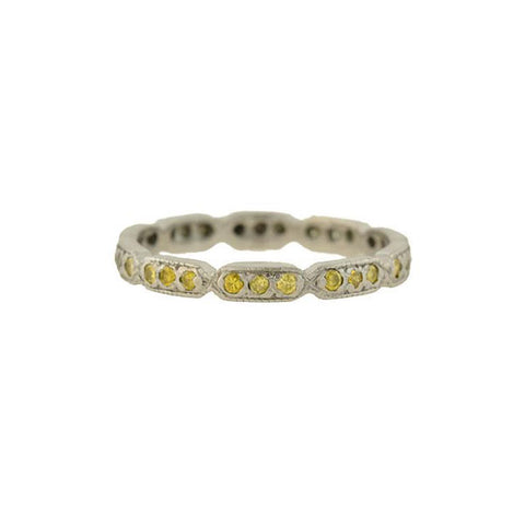Estate Platinum Single Cut Yellow Diamond Eternity Band