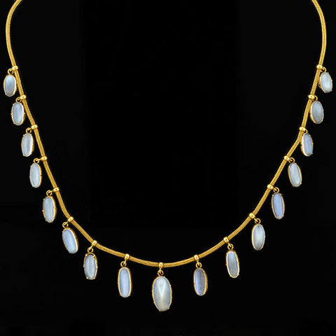 Late Victorian 15kt Moonstone Graduated Festoon Necklace