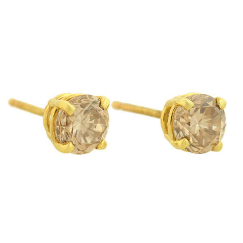 Estate 14kt Champagne Diamond Stud Earrings 1.30ctw