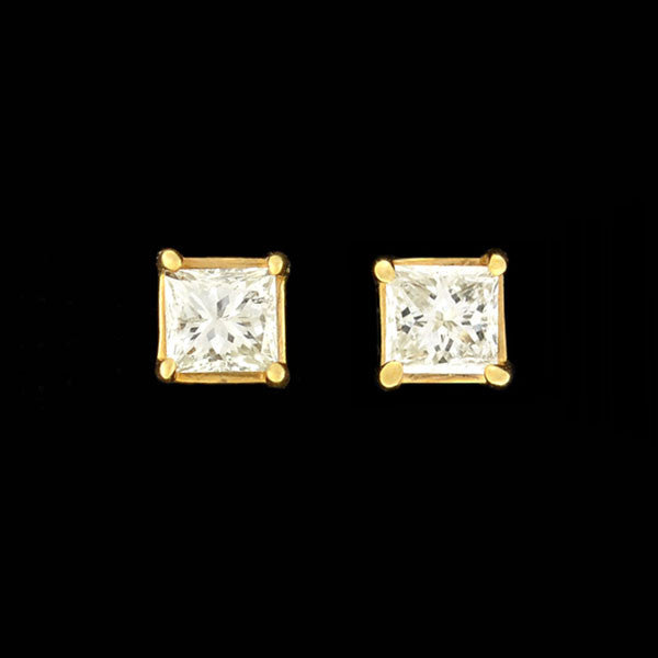 Estate 14kt Princess Cut Diamond Stud Earrings 0.50ctw