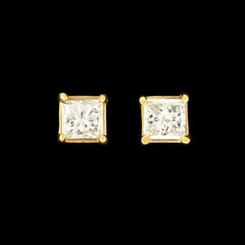 HENRY DUNEY Estate 18kt Yellow Gold Hammered Clip-On Earrings