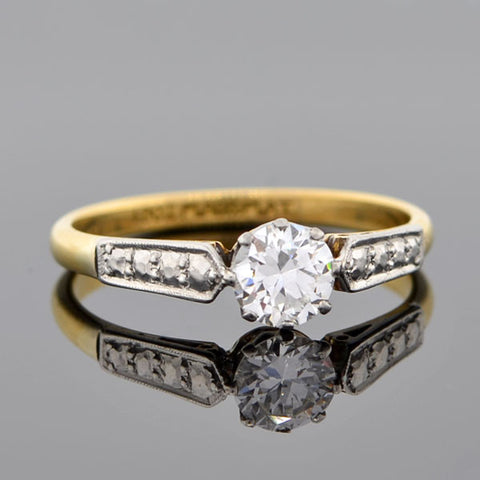 Edwardian 18kt & Platinum Diamond Engagement Ring 0.53ct