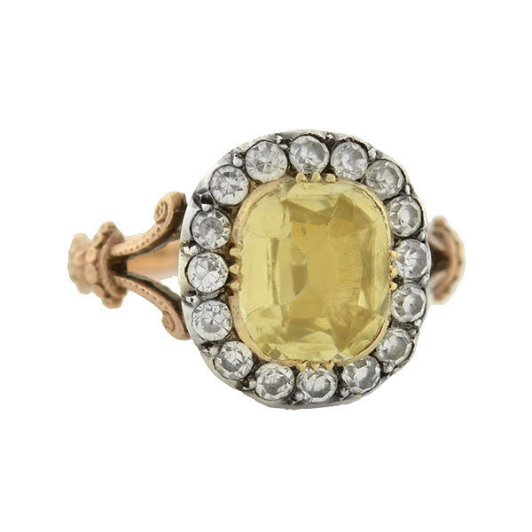 Victorian 18kt/Sterling White & Yellow Sapphire Ring 1.50ct