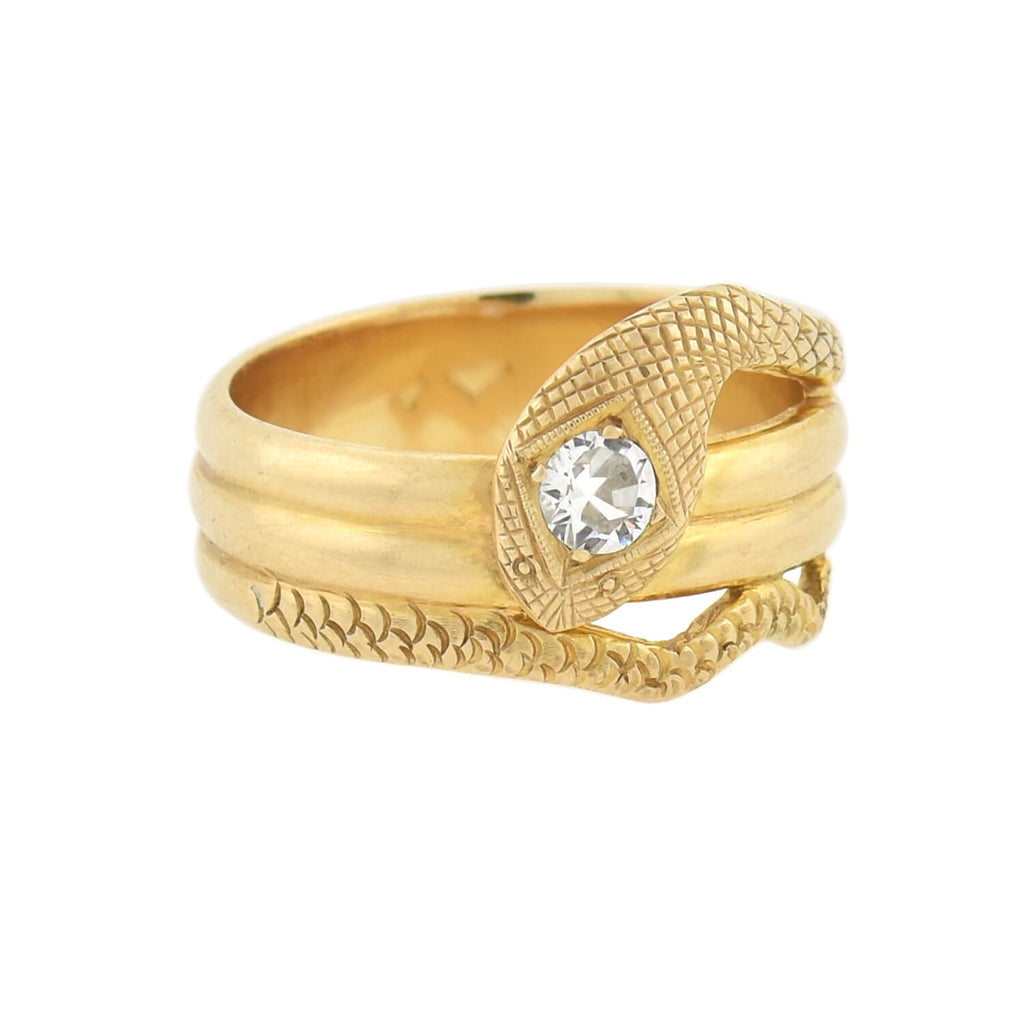 Edwardian 14kt Old European Cut Diamond Snake Ring 0.40ct