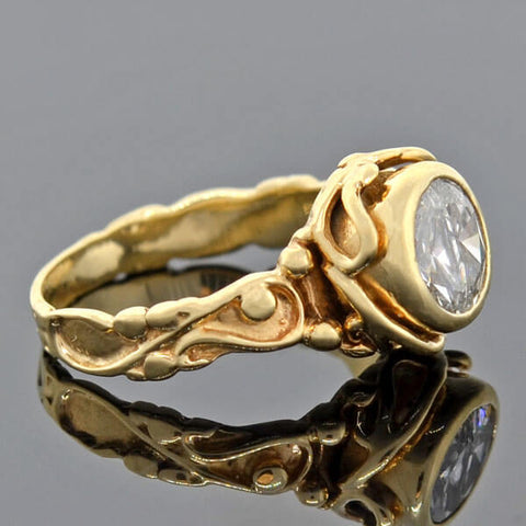 "Vintage 14kt Sculptural ""Half Moon Diamonds"" Ring 1.00ctw"