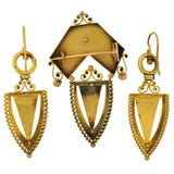 Victorian 15kt Gold Etruscan Earring & Pin Boxed Set