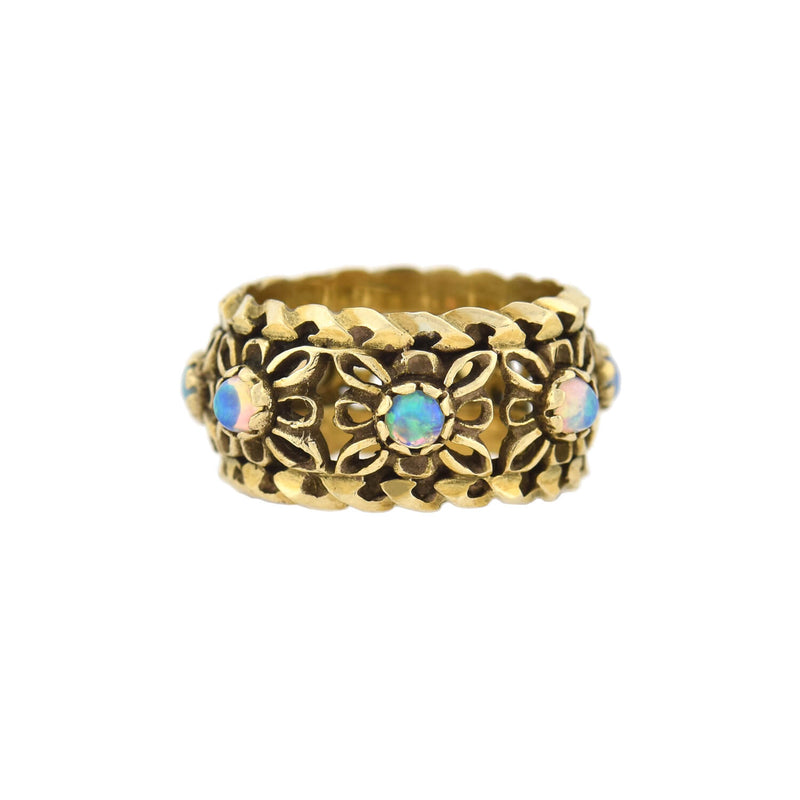 Retro 14kt Mixed Metals Two-Tone Floral Cutout Band