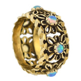 Retro 14kt Opal + Carved Floral Motif Band