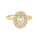 Estate 14kt Oval Diamond Cluster Ring .90ct Center