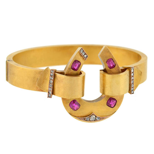 Victorian 18kt Natural Ruby & Diamond Horseshoe Bracelet