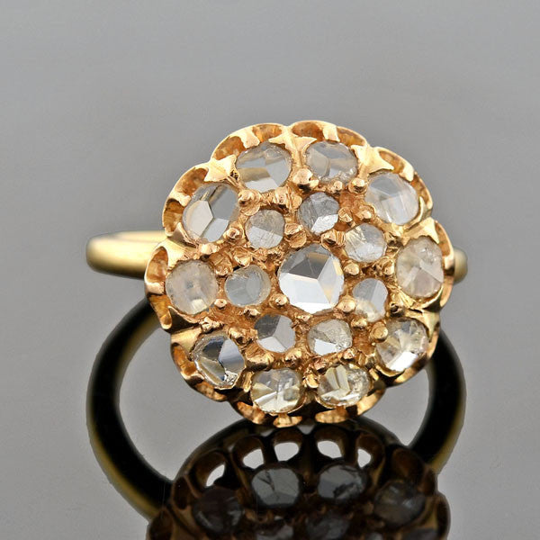 Victorian 18kt Rose Cut Diamond Cluster Ring 0.80ctw