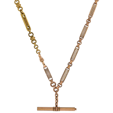 "Victorian Gold-Filled Two-Tone ""Industrial Style"" Watch Chain Necklace 24"""