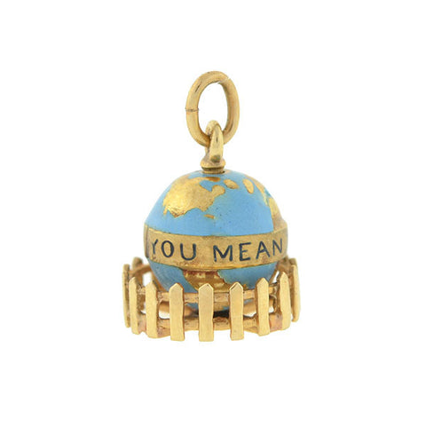 "Vintage 14kt ""You Mean The World To Me"" Globe Charm"