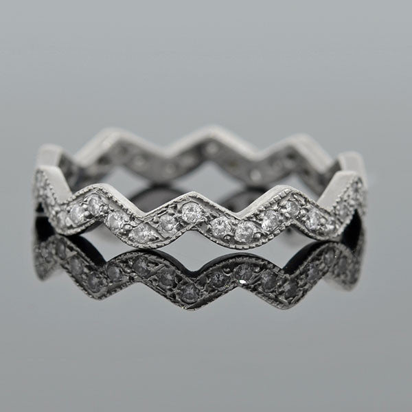 Estate Platinum & Diamond Zig-Zag Eternity Band