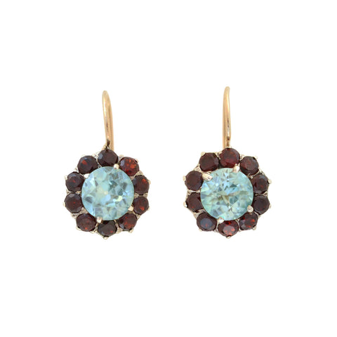 Early Retro Sterling/14kt Blue Zircon + Garnet Cluster Earrings