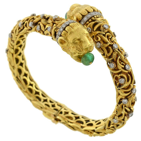 Victorian 14kt Emerald & Diamond 5-Stone Gypsy Ring