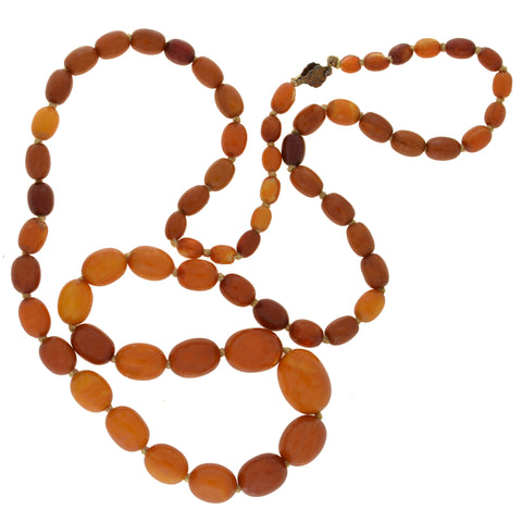 Art Deco Baltic Amber Bead Necklace 32.75""
