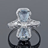 Art Deco 18kt Aquamarine + Diamond Bow Motif Filigree Ring