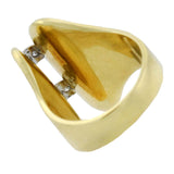 Vintage Large 18kt Gold Diamond Modernist Style Ring