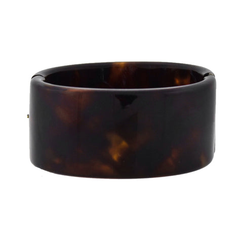 Victorian Carved Tortoise Shell Hinged Bangle Bracelet