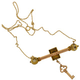 Victorian Gold-Filled Garnet Padlock + Key Necklace 16
