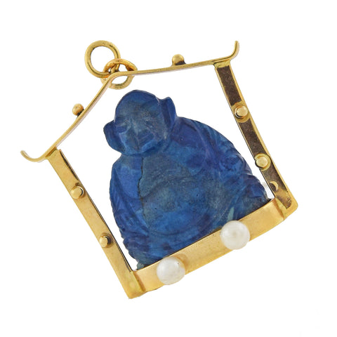 Vintage 14kt Carved Lapis Lazuli Buddha + Cultured Pearl Pendant
