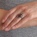 Victorian Large Sterling Madeira Citrine + Garnet Flower Motif Ring