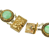 Art Deco Chinese Sterling Gilt Jade Link + Tassel Pendant Necklace 21