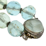 Art Deco Chinese Aquamarine + Silver Filigree Bead Necklace 17.5