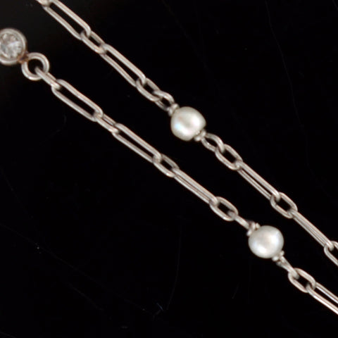 Edwardian Platinum Diamond + Pearl Chain Necklace 29.5""