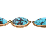 Edwardian 14kt Natural Turquoise Festoon Style Necklace 16.5
