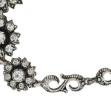 Vintage Swedish Silver Foil Backed Flower Link Bracelet